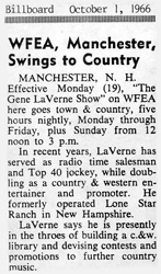 WFEA adds country music at night - October 1, 1966